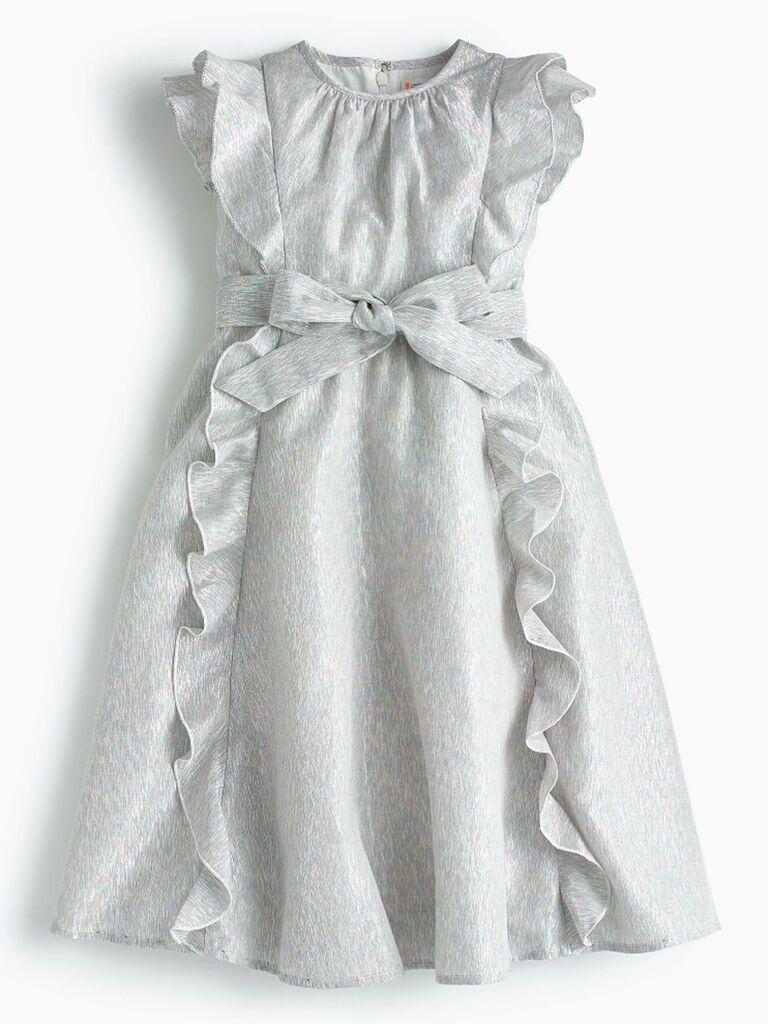 J. Crew girl's ruffle-trim rainbow lamé dress
