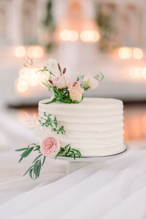 Small White Wedding Cake with Pink Roses