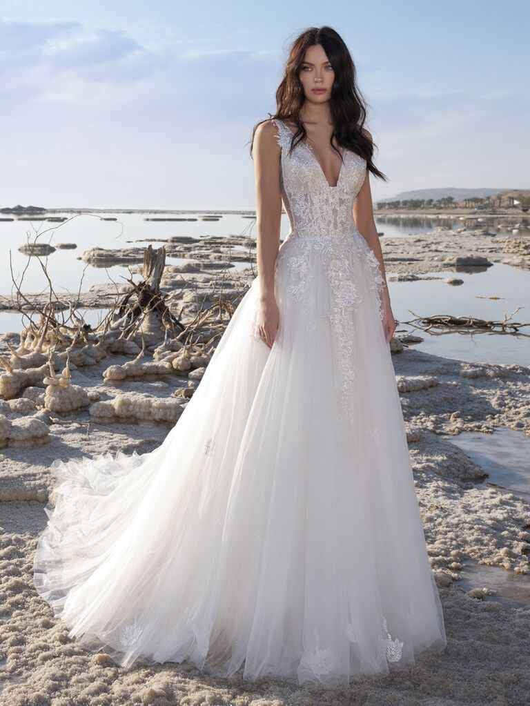 Pnina Tornai Spring 2020 Bridal Collection beaded A-line sleeveless wedding dress with tulle skirt