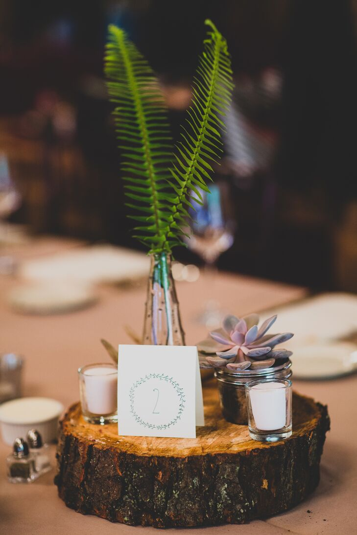 A single fern in a clear vase surrounded by succulents, antlers, and candles on top of a slab of wood was the centerpiece for guest tables at the wedding reception. A white table number card was positioned in front.