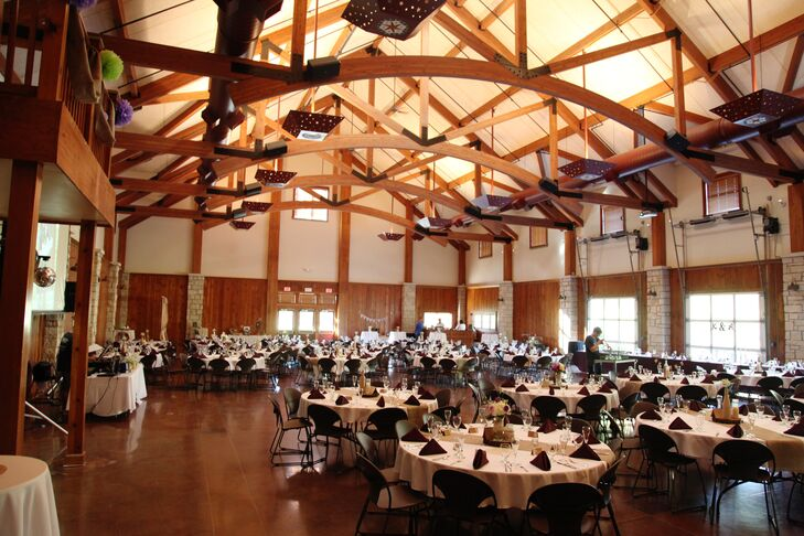 Not only did the Lodge at Ironwoods offer the perfect rustic backdrop for the wedding with its vaulted ceilings, exposed wood beams and metal chandeliers, it was able to comfortably accommodate all 280 of the couple's guests.