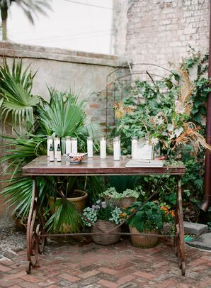 Vintage Wood Table with Candles and Guest Book