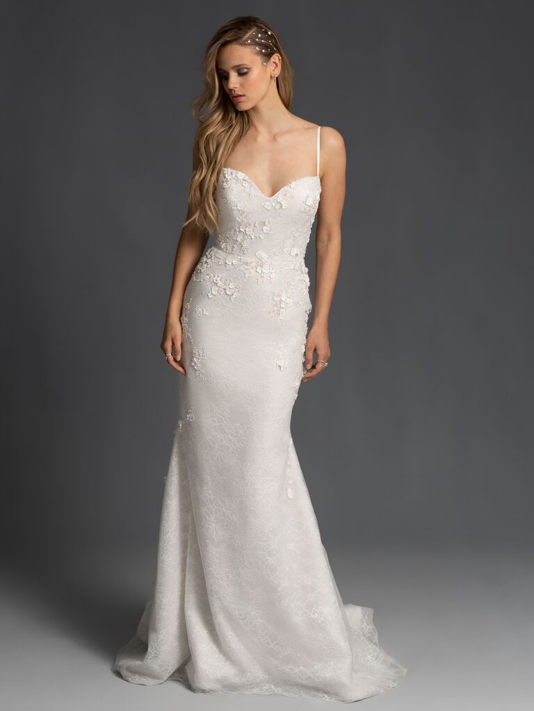 Hayley Paige Fall 2019 Bridal Collection fitted A-line wedding dress with sweetheart neckline and spaghetti straps