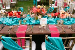 Turquoise Reception Table Runners