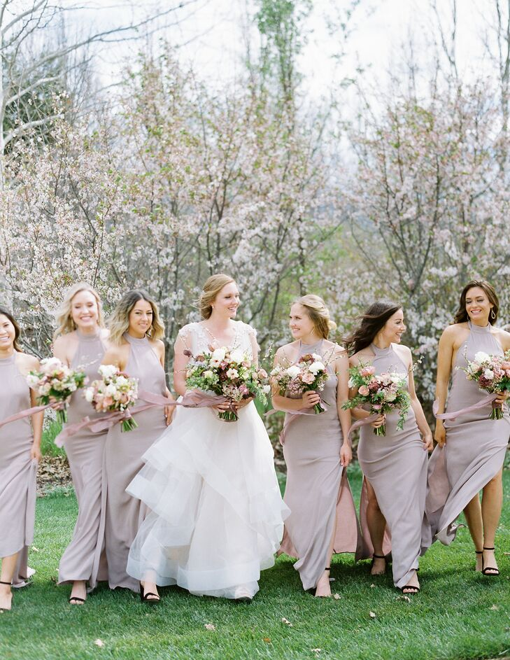 Custom Blush-Gray Flynn Skye Bridesmaid Dresses