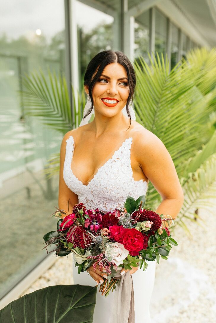 Modern Bride with Updo, Red Bouquet and Red Lipstick