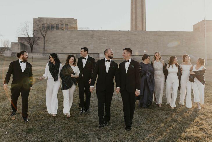 Wedding Party in Black-and-White Attire in Kansas City, Missouri
