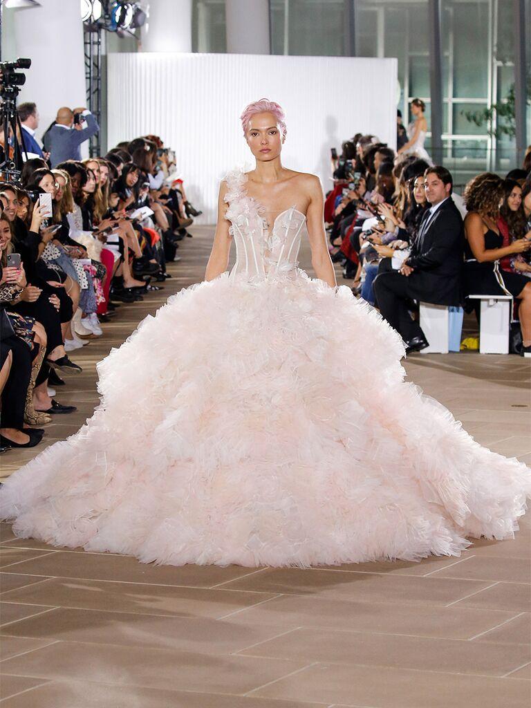 One Shoulder Blush Ball Gown Wedding Dress