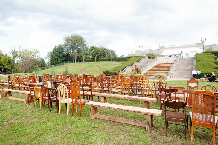 Eclectic Mismatched Chairs for Outdoor Ceremony Seating
