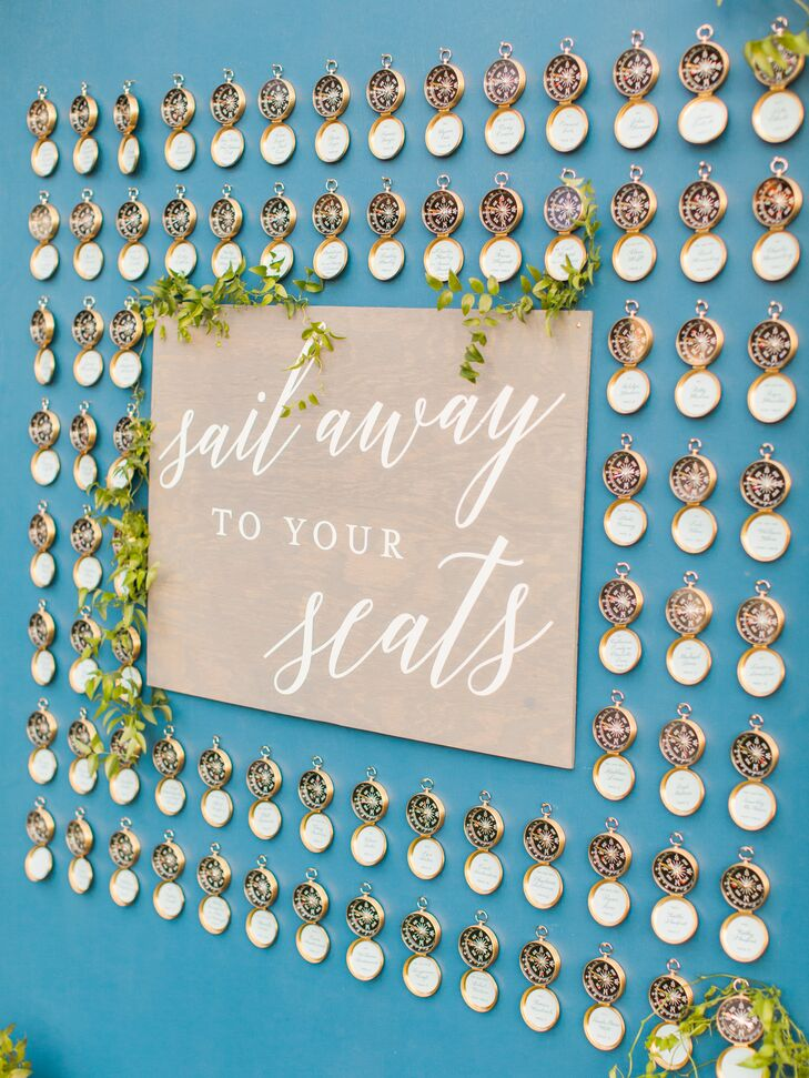 Compass Escort Cards on Nautical-Inspired Seating Chart