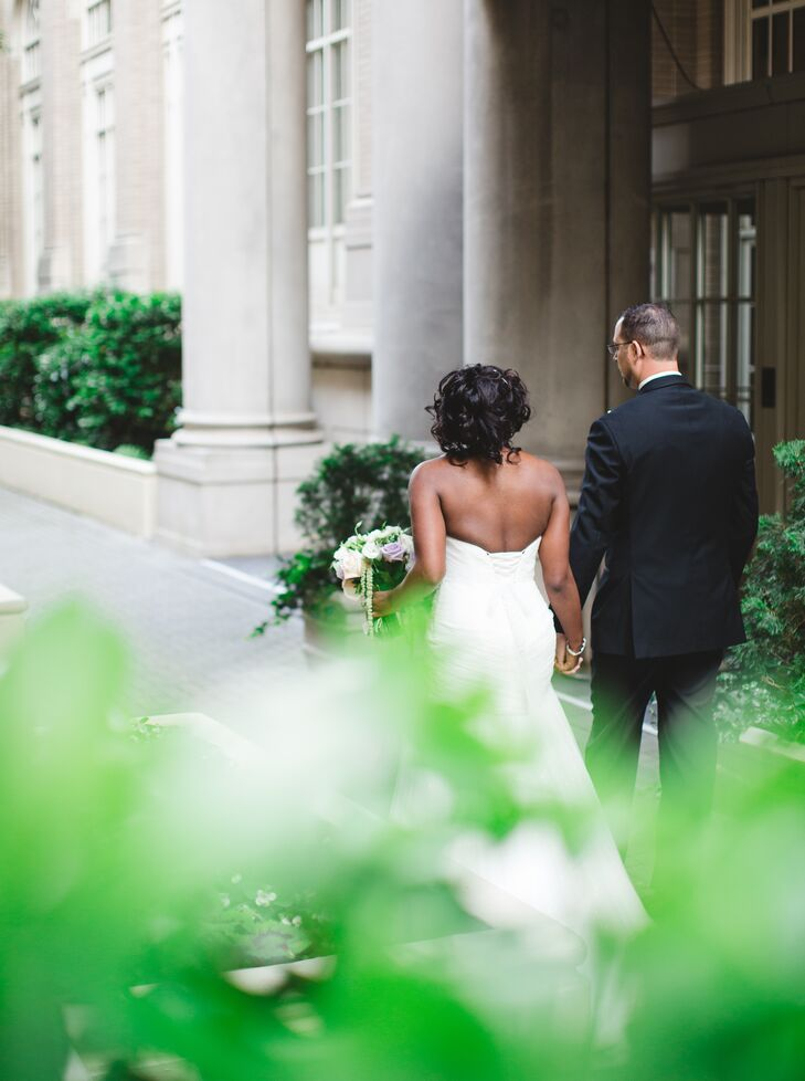 """The couple had a courthouse wedding in May 2014, and after their elopement, they celebrated with a vacation at Georgian Terrace in Atlanta, Georgia. """"We fell in love with the hotel's charm, history and sophisticated decor—and the staff was just amazing,"""" Rachel says. """"It was the obvious choice for when the time came to select our venue."""""""