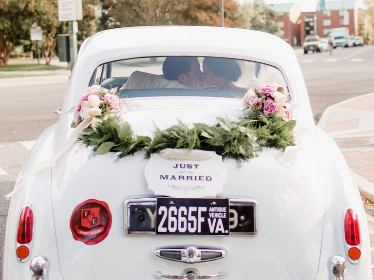 How to change your last name after the wedding bride and groom driving away solutioingenieria Images