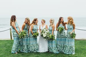 Casual Blue and Green Patterned Bridesmaid Dresses