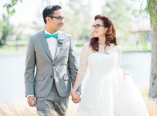 "Jessica O'Toole (27 and a steam locomotive engineer) and David Tercero (32 and a graphic designer) went with a ""geek chic"" wedding theme, celebrating"