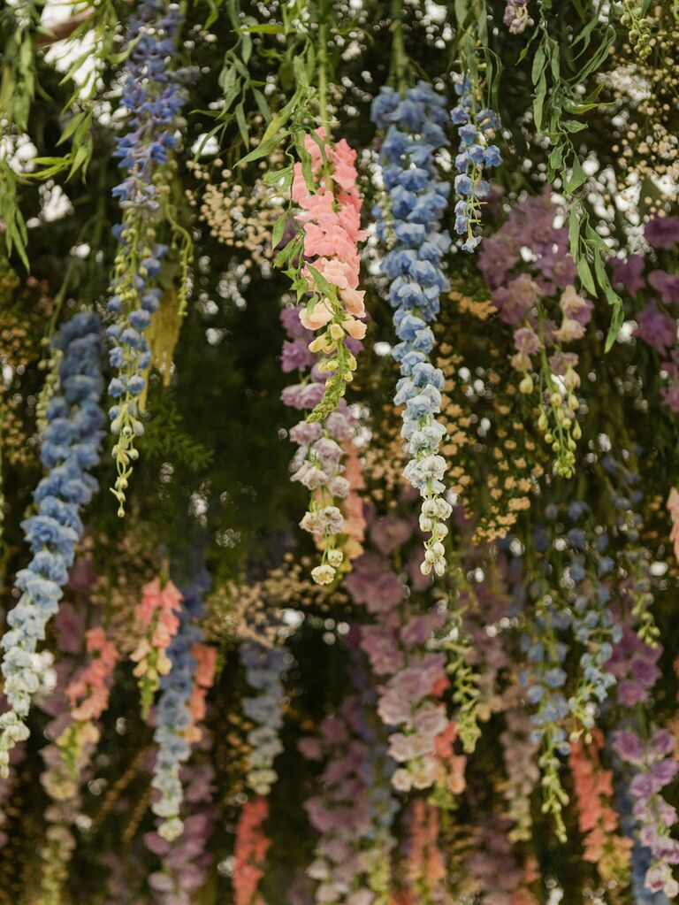 Hanging wisteria in pastel blue, pink and purple