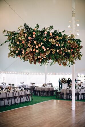 Hanging Flower Arrangement of Pink Roses and Greenery over Dance Floor