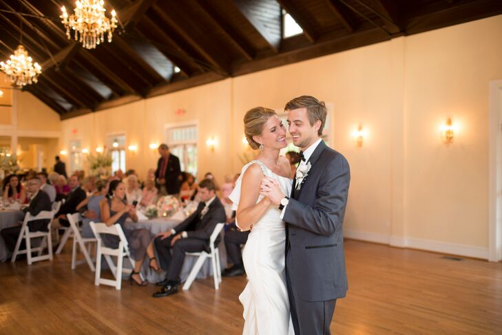 The wedding took place at the newly renovated Woman's Club of Portsmouth. The hall had beautiful cathedral ceilings with crystal chandeliers.