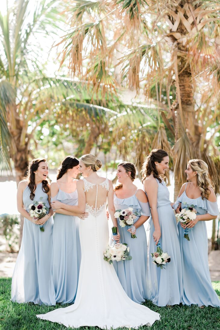 Pale Blue Off-the-Shoulder Bridesmaid Dresses