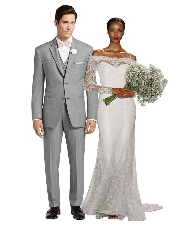 Lace Wedding Dress And Gray Suit
