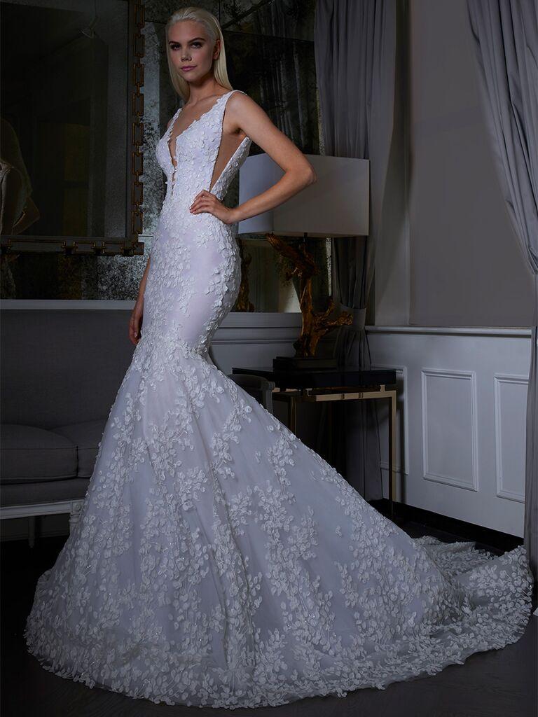 Romona Keveza wedding dress mermaid lace gown
