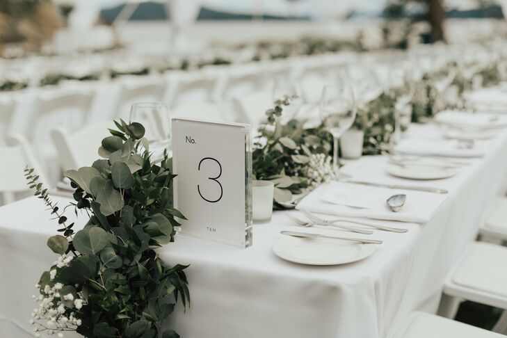 Simple Table Numbers with Greenery Garland