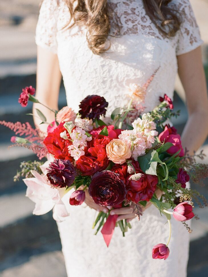 Romantic Pink, Burgundy and Red Bridal Bouquet