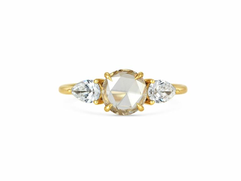 Daisy bespoke rose cut engagement ring in yellow gold