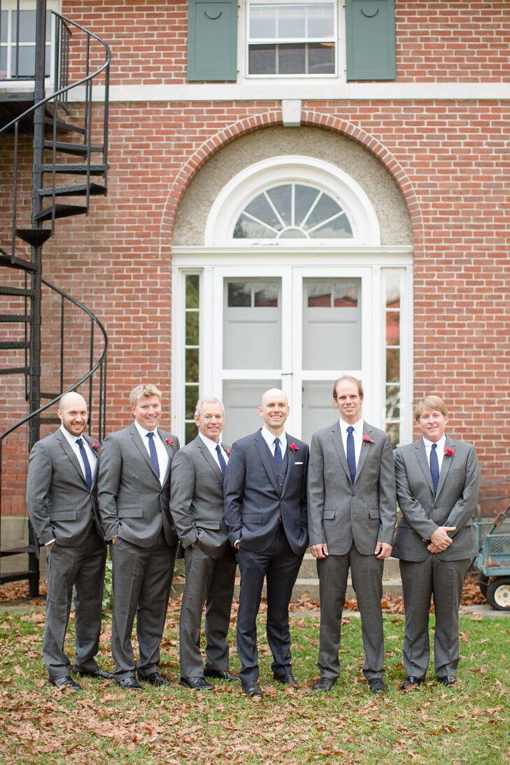 Groom and Groomsmen in Gray J.Crew Suits