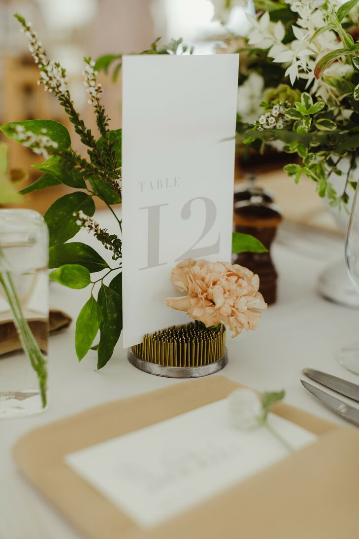 Minimal, Whimsical Table Numbers for Michigan Wedding