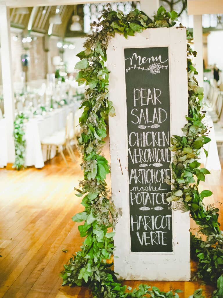 Tall Framed Chalkboard Sign creative wedding menu display idea