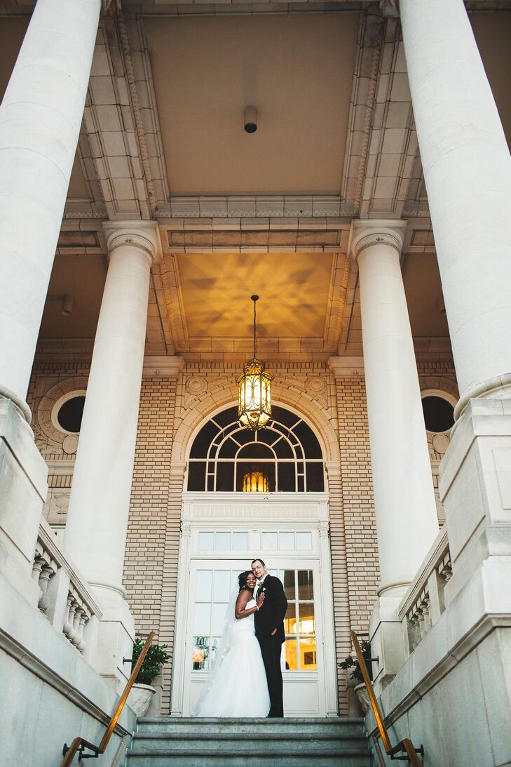 """""""Since we were having friends and family from all over the world, we wanted to give them a taste of the sophistication that can be found in the South,"""" Rachel says of the posh Georgian Terrace in Atlanta, Georgia. """"What better way to do that than being married at one of Georgia's most iconic locations."""""""