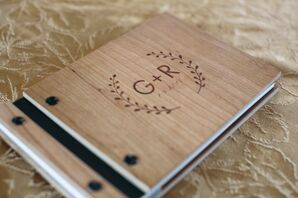 Wooden Guest Book with Monogram