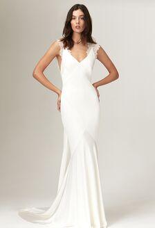 one shoulder draped sheath wedding dress