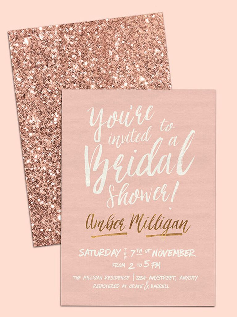 blush sequins bridal shower diy invitation template