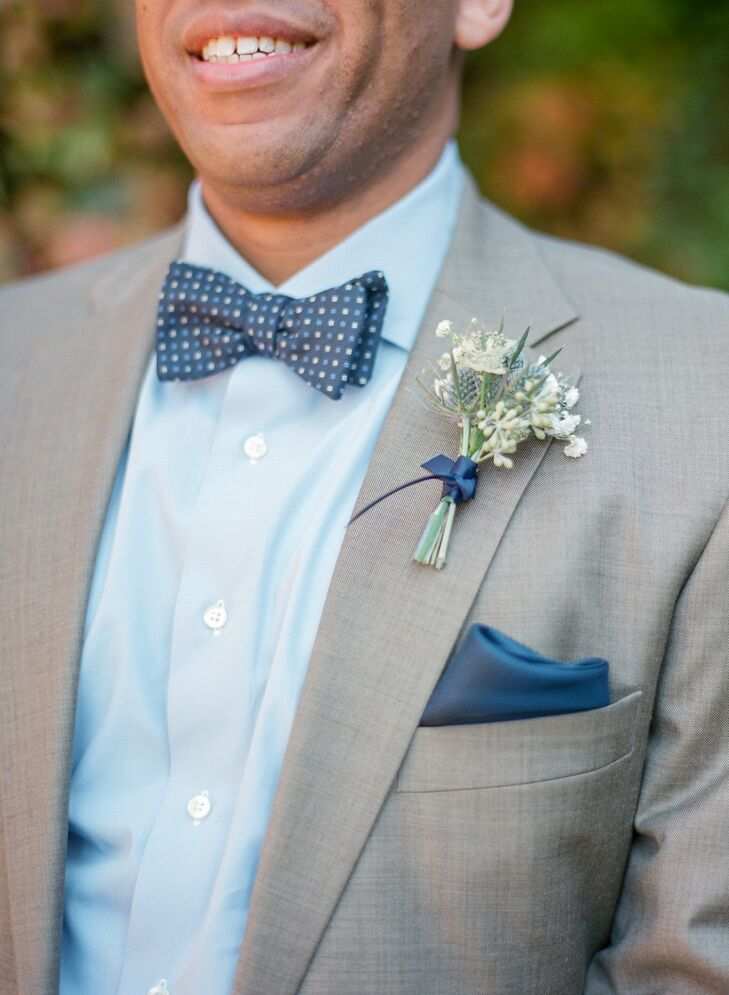 Blue Button-Down Shirt with Polka Dot Bow Tie