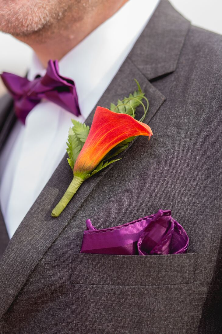 Fiery Orange Calla Lily and Fern Boutonniere and Plum Pocket Square