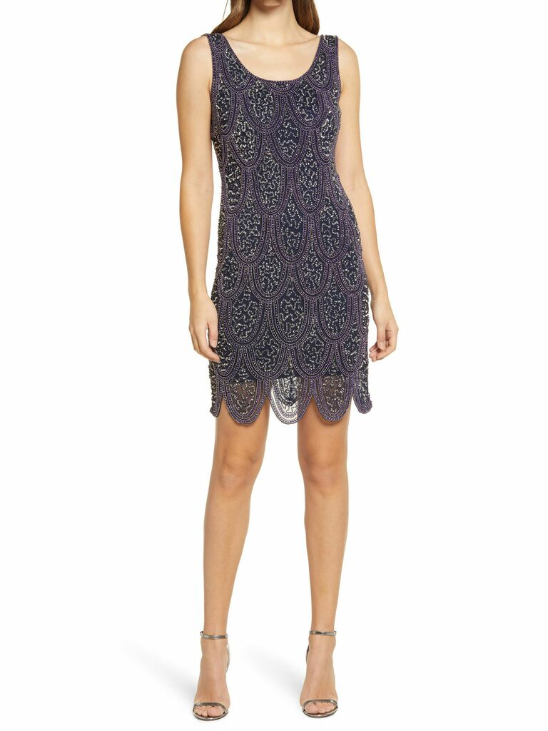 Pissaro Nights embellished sheath dress with beaded detail