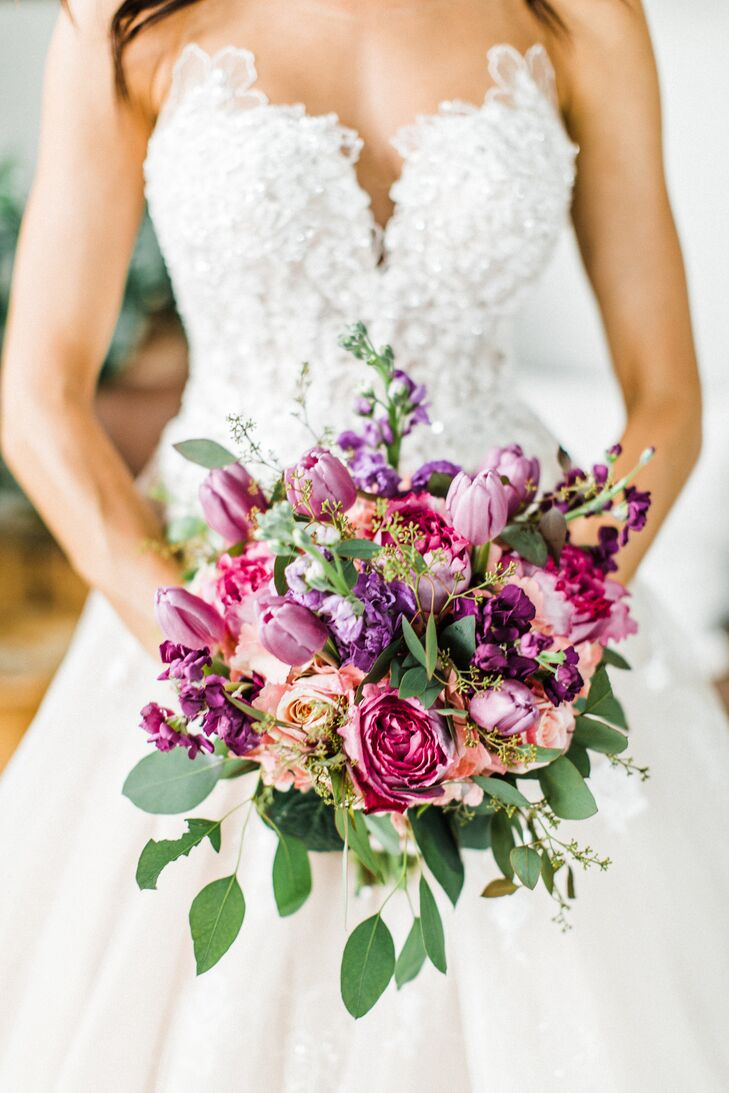 Purple Spring Tulip and Rose Bouquet