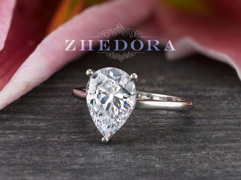 Zhedora 3-carat moissanite pear ring in White Gold