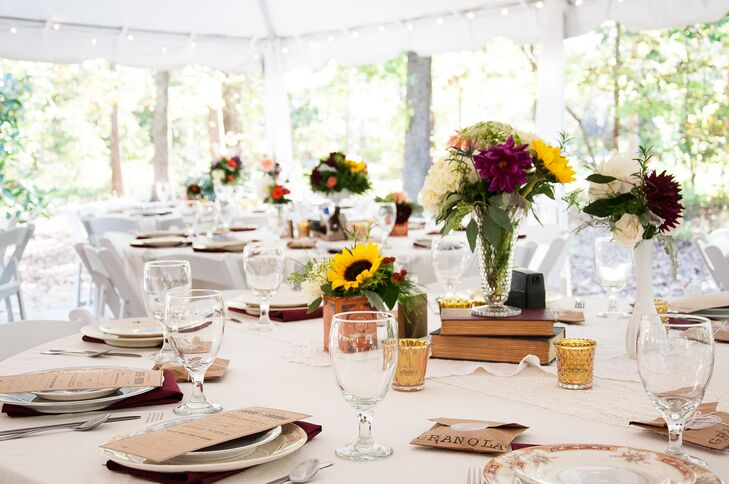 Each table centerpiece was decorated differently for an eclectic look.