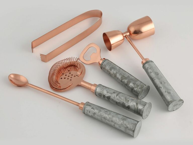 rose gold bar tools with galvanized metal handles