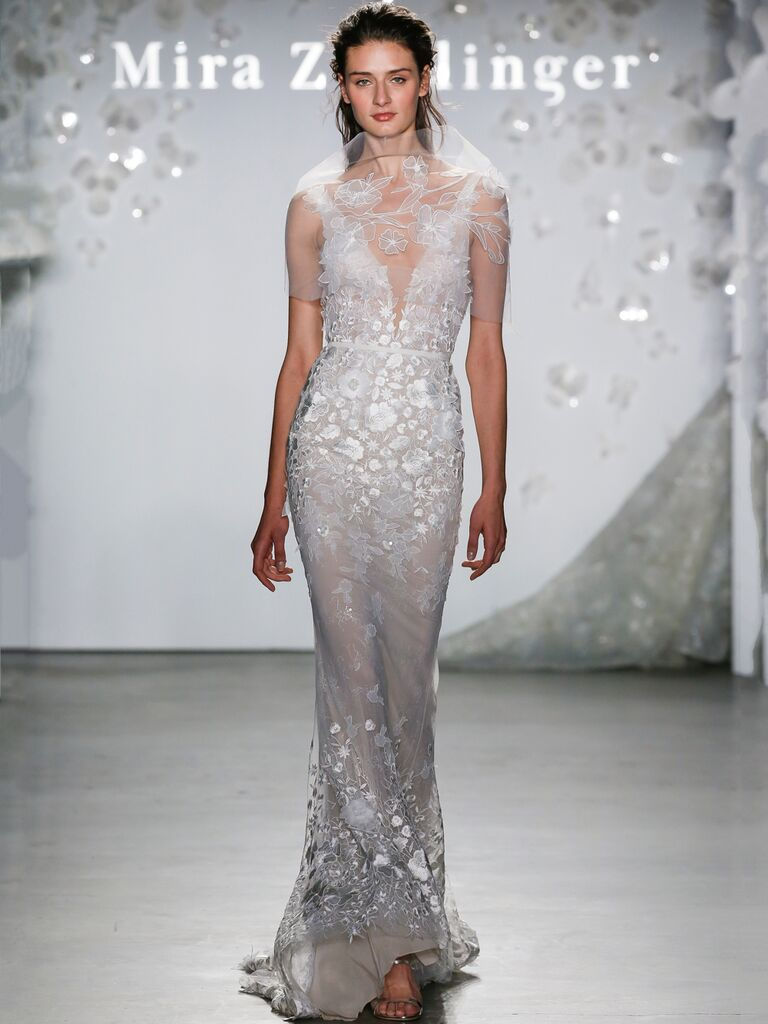 Mira Zwillinger Spring 2020 Bridal Collection wedding dress with floral appliqués