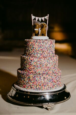 Tiered Cake with Sprinkles and Dog Cake Topper