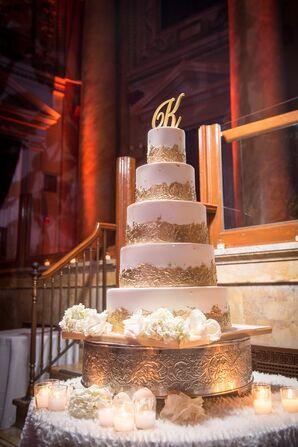 Glam Gold-Leaf Tiered Wedding Cake