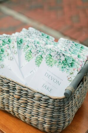 Wicker Basket and Whimsical Ceremony Program with Succulent Design