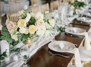 Blush and Peach Rose Centerpieces on Gauzy Table Runner