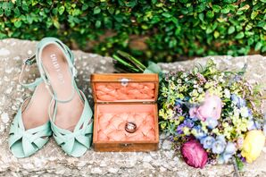 Mint Wedding Shoes and Pearl Ring