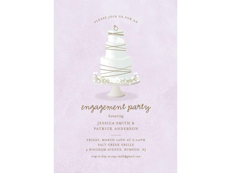 Pastel wedding cake engagement party invitation