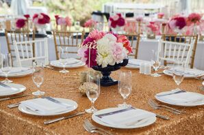 Gold Sequins Tablecloth with Pink Peony Arrangements