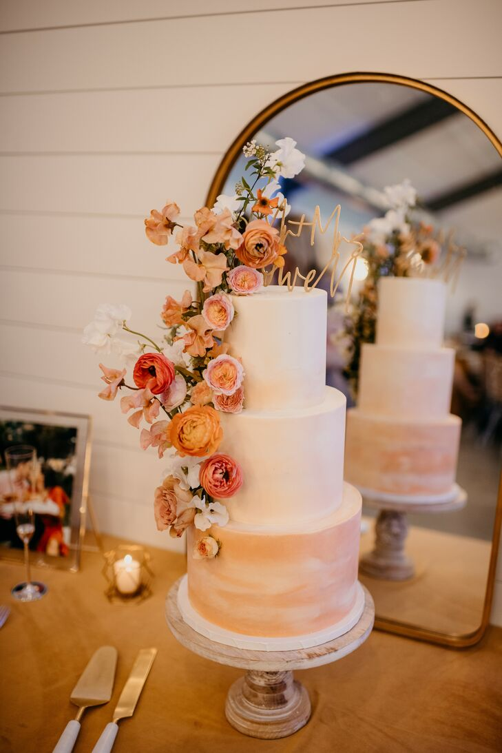 Boho Fondant Wedding Cake with Pink Flowers